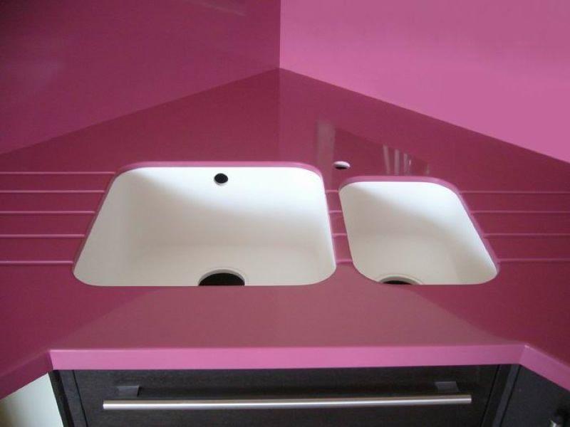 Мойки для кухни из камня, белый+розовый